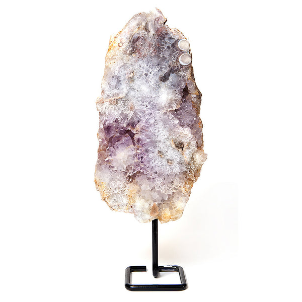 Pink Amethyst Slab Sculpture on Stand v7