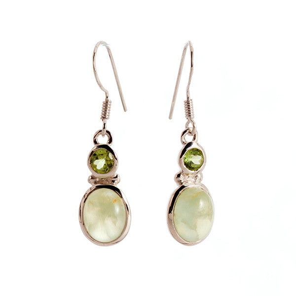 Prynite and Peridot Sterling Silver Earrings
