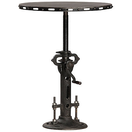 32 inch Round Industrial Bar Table with a Cast Iron Base Crank and Adjustable Height in Gun Metal Finish