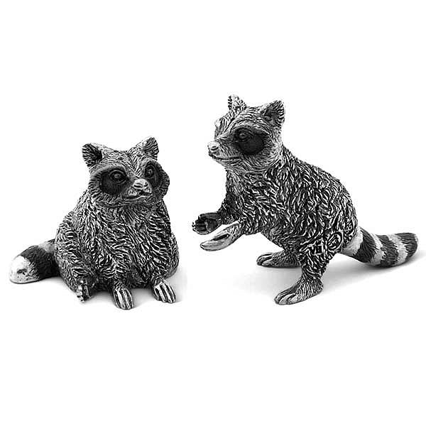 Raccoon Family Salt and Pepper Shaker Pair from Sterling Silver Pewter Hollywood