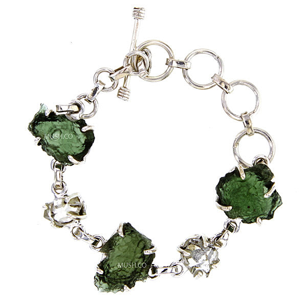 Raw Moldavite & Herkimer Diamond Bracelet Set in Sterling Silver