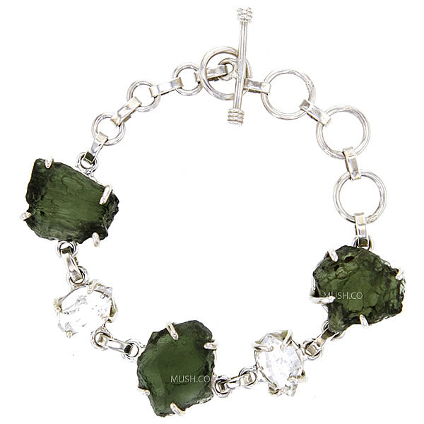 Raw Moldavite & Herkimer Diamond Bracelet Set in Sterling Silver v2