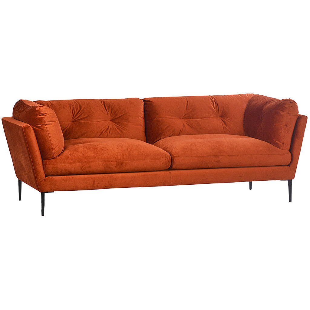 Holloway Sofa in Red Orange Velvet Upholsary and Metal Legs