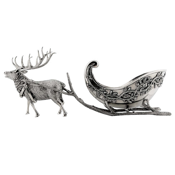 Reindeer Sleigh Centerpiece in Sterling Silver Pewter