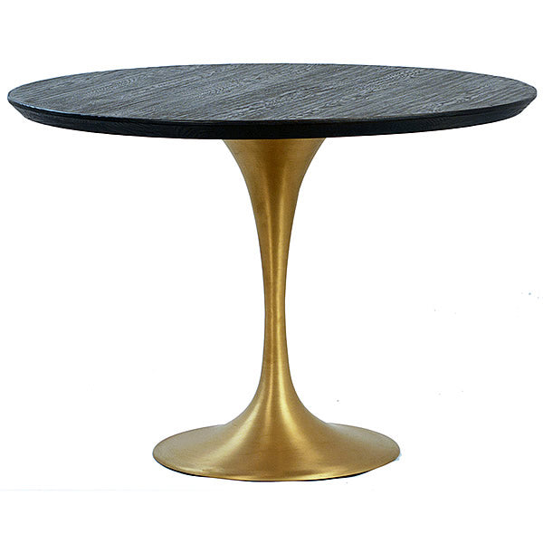 "Cole 42"" Round Tulip Table with Brass Tone Base Hollywood"