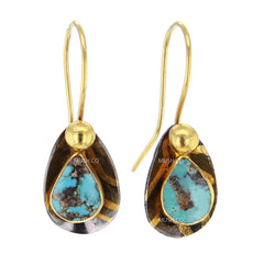 Turquoise and 14K Gold Plated Sterling Silver Earrings