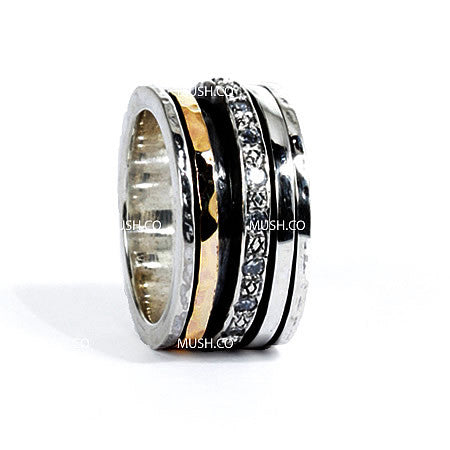 3 Spinning Band Sterling Silver Ring with 9kt Gold Plate and Inset CZ Crystals Hollywood