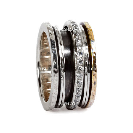 3 Spinning Band Sterling Silver Ring with 9kt Gold Plate and CZ crystals Hollywood