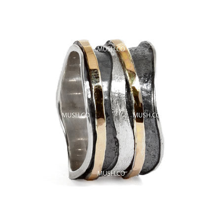 Free Flow Sterling Silver and 9Kt Gold Plate Ring with 3 Spinning Bands