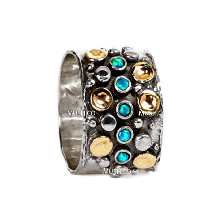 Studded Sterling Silver and 9Kt Gold Plate Barrel Ring with an Infinity Middle Row of Inset Opal