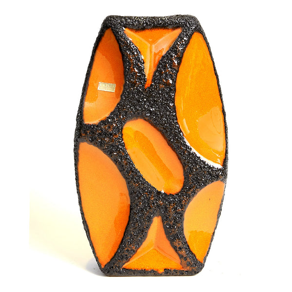 1970s Orange Roth Keramik Lozenge Fat Lava Vase 311