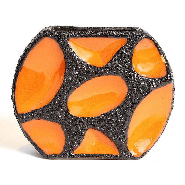 1970s Modernist Orange Roth Keramik Lozenge Fat Lava Vase 310