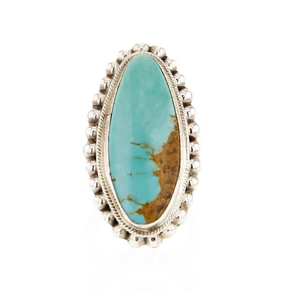Sterling Silver Oval Ring with Large Royston Turquoise and Beaded Edge by Hackey Hollywood