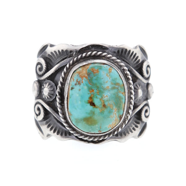 Sterling Silver Sculpural Navajo Ring with Royston Turquoise in Size 11