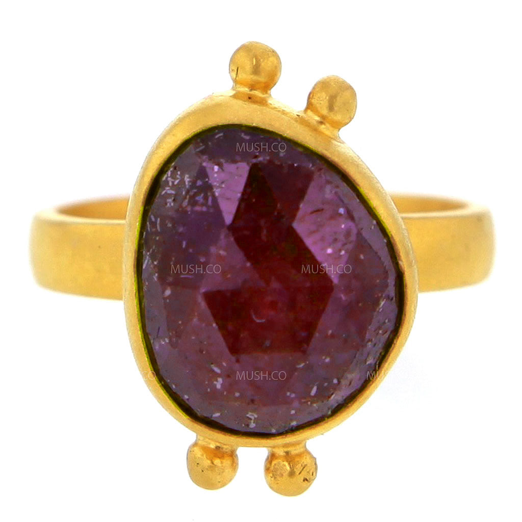 14K Brushed Gold Plated Sterling Silver Ring with Raw Faceted Ruby Size 6