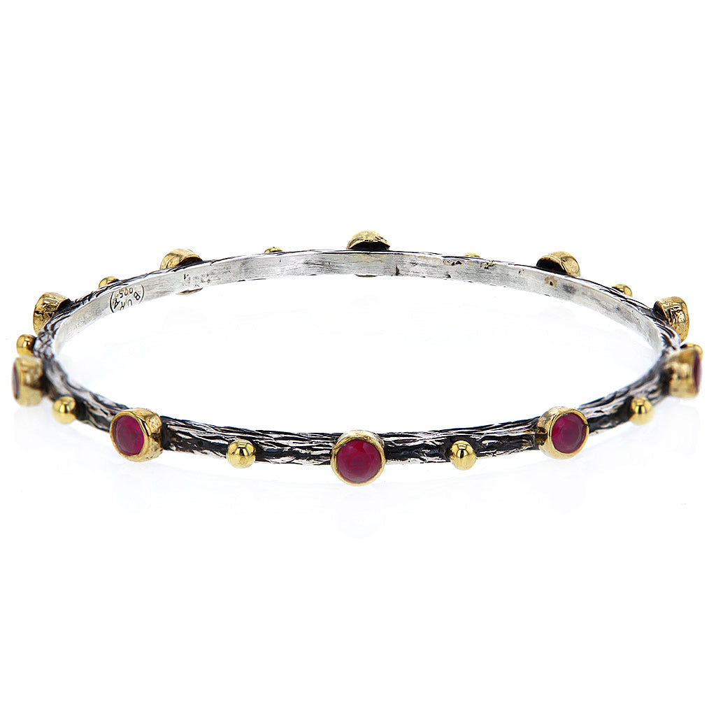 Hammered Sterling Silver Gold Plate and Ruby Studs Bangle by Bora