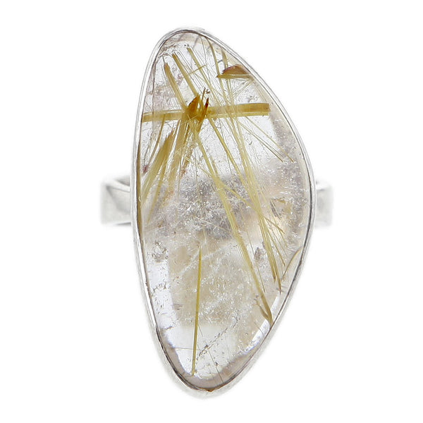 Freeform Gold Rutile Quartz Ring Set in Sterling Silver Size 7