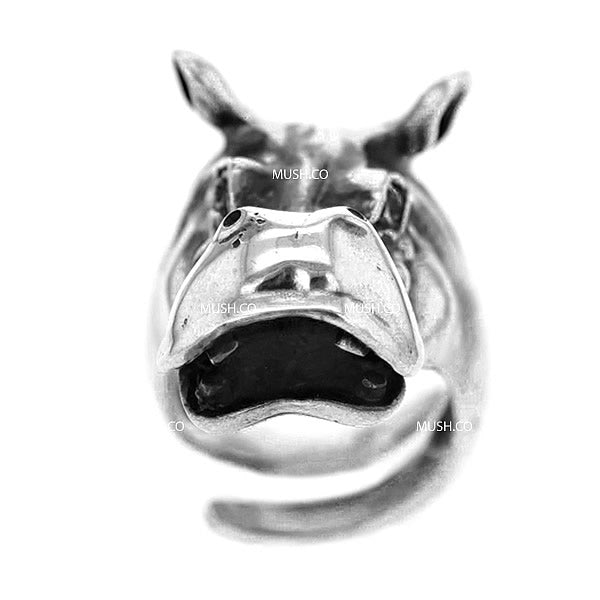 Happy Hippo Sculpted Sterling Silver Adjustable Ring