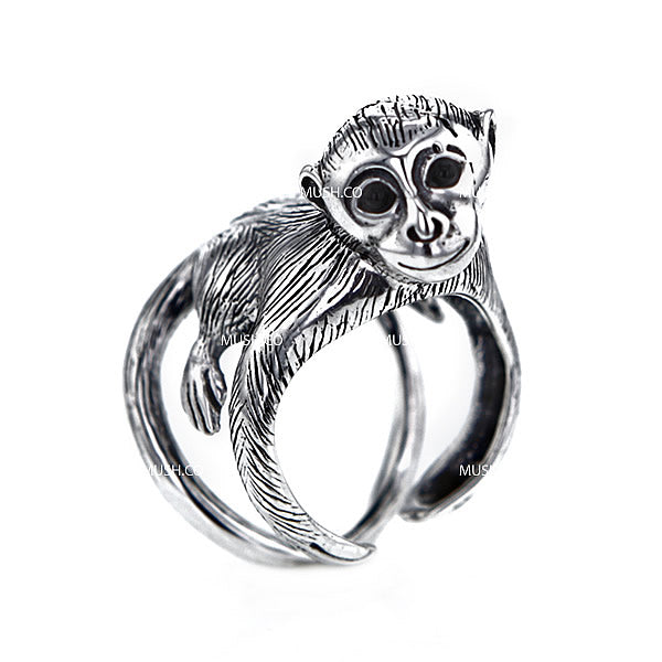 Cheeky Monkey Sculpted Sterling Silver Adjustable Ring