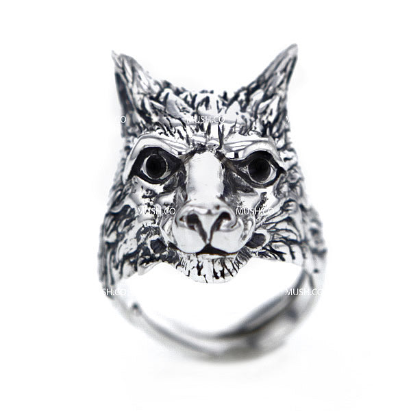 Sterling Silver Wolf's Head Adjustable Ring