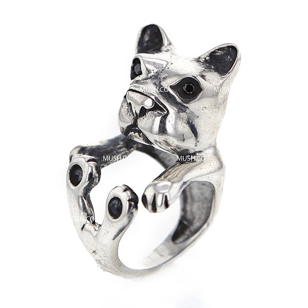 Frenchie Sculpted Sterling Silver Adjustable Ring