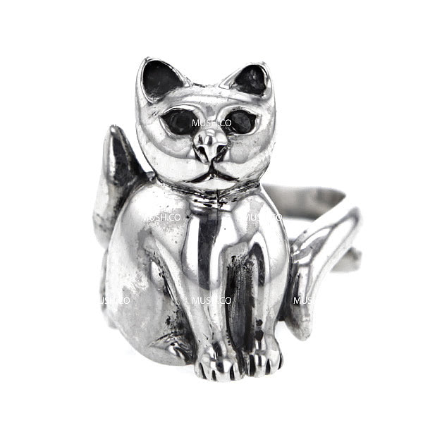Kitty Cat Sculpted Sterling Silver Adjustable Ring