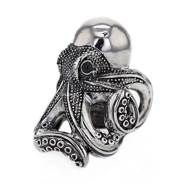 Large Sculpted Octopus Sterling Silver Ajustable Ring