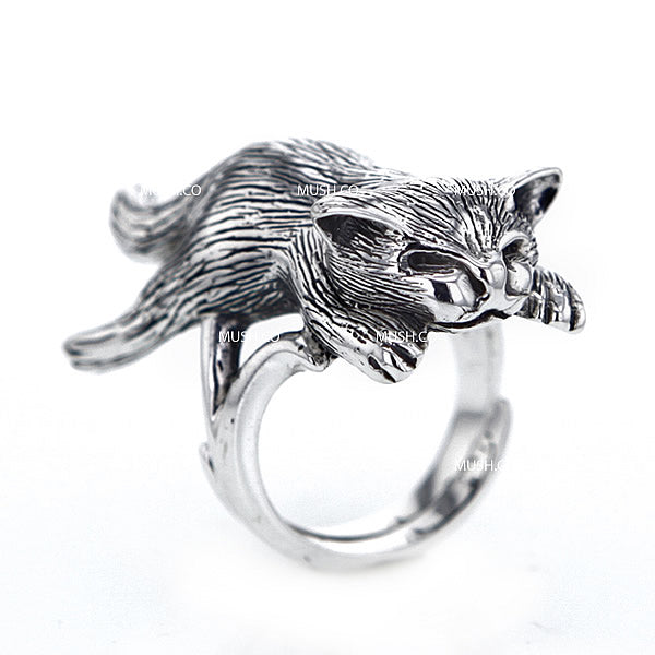 Sleeping Cat Sculpted Sterling Silver Adjustable Ring