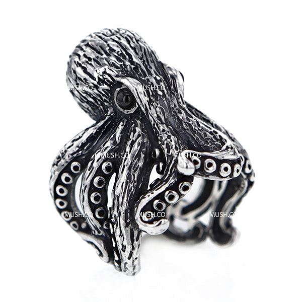 Lifelike Sculpted Octopus Sterling Silver Ajustable Ring