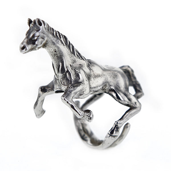 Sculpted Rearing Horse Sterling Silver Adjustable Ring