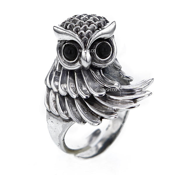 Wise Owl Sculpted Sterling Silver Adjustable Ring Hollywood
