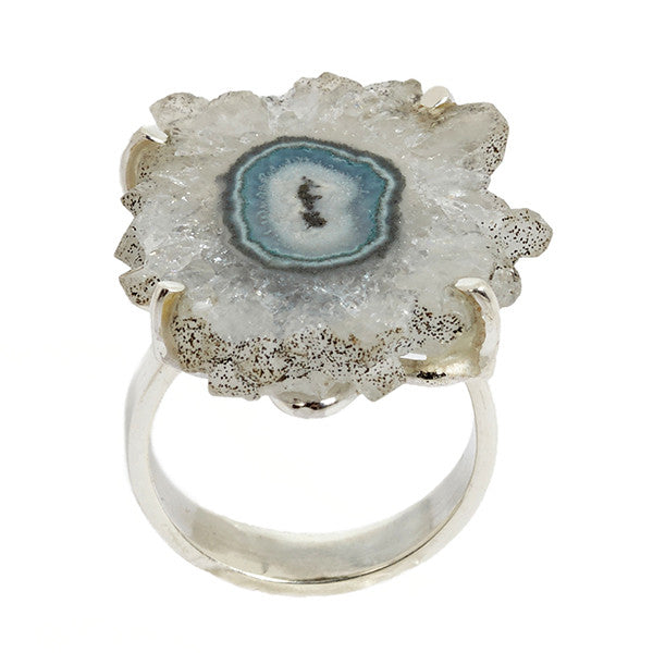 Aqua Colored Stalactite and Sterling Silver Ring