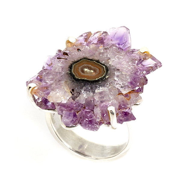 Purple Colored Stalactite and Sterling Silver Ring Hollywood