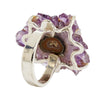 Purple Colored Stalactite and Sterling Silver Ring