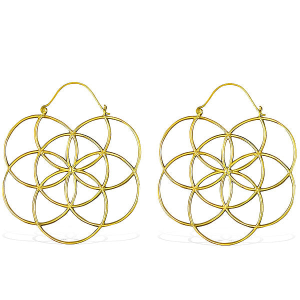 Mandala Brass Hoop Earrings