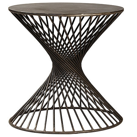 Marseille Side Table with Twisted Iron Rods in Gun Metal Steel Hollywood