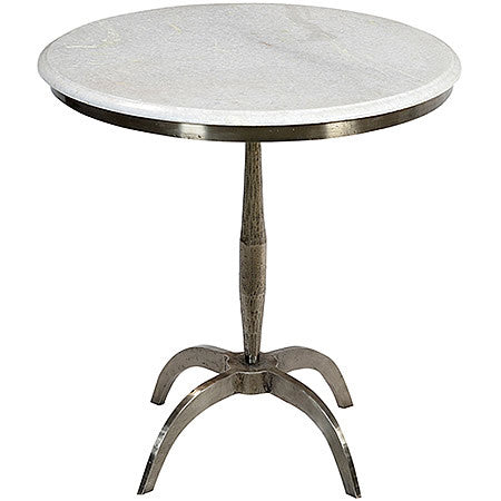 Modena Marble Top Side Table with Iron Base in Gun Metal Steel Hollywood