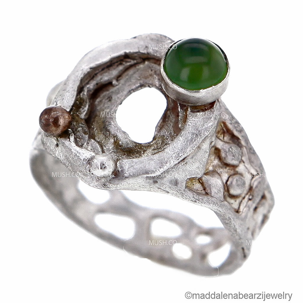 organic-shape-sterling-silver-ring-with-serpentine-stone-and-18k-gold-bauble