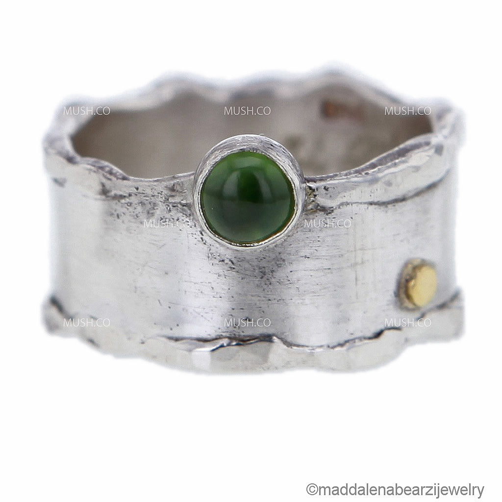 italian-designer-sterling-silver-ring-with-serpentine-stone-and-18k-gold-bauble