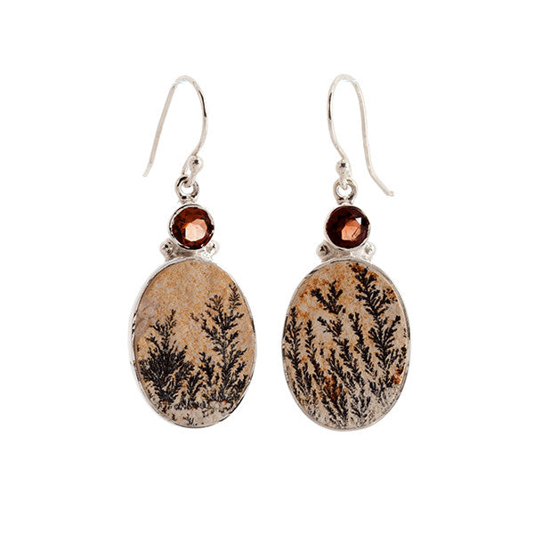 Oval Leaf Jasper and Smokey Quarts Sterling Silver Earrings