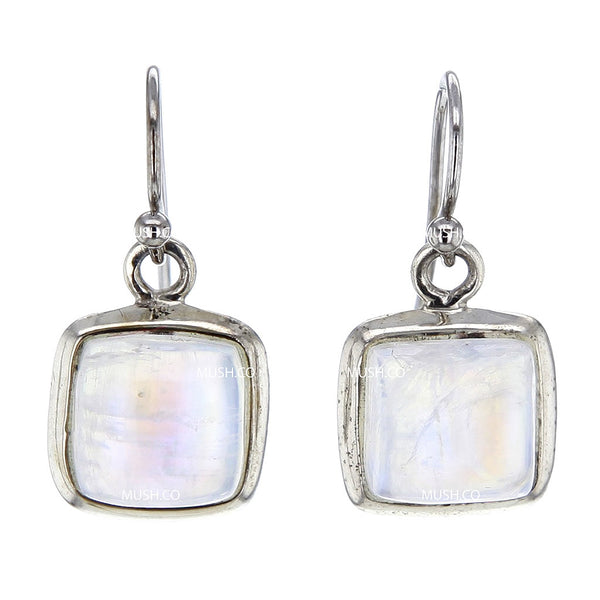 Square Cabuchon Moonstone Sterling Silver Earrings
