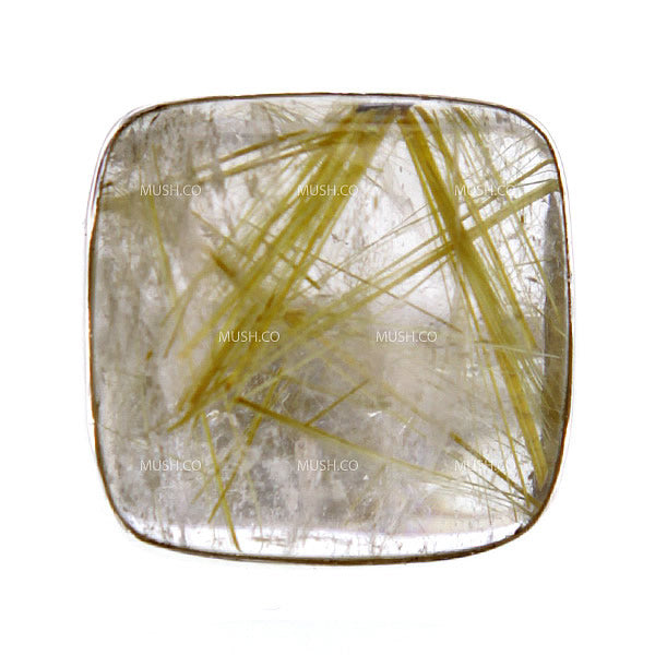Square Shaped Gold Rutile Quartz Ring Set in Sterling Silver Sz 9