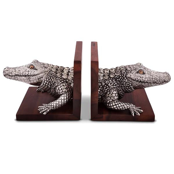 Alligator Book Ends From Sterling Silver Pewter and Accacia Wood