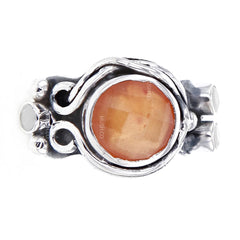 Faceted Round Carnelian Sterling Silver Ring with 3 Moonstone Satellites Size 7