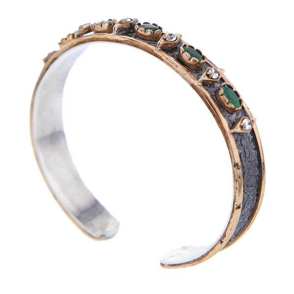 Green Emerald in Hammered Oxidized & Gold Plated Sterling Silver Bracelet by Bora