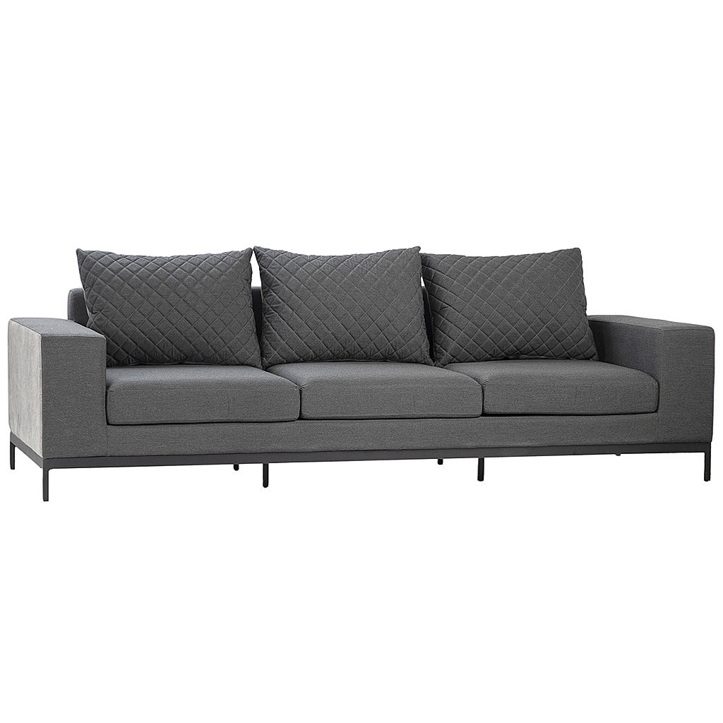 Sunbrella Gray Suede Sofa with Black Powder Coated Aluminum Frame