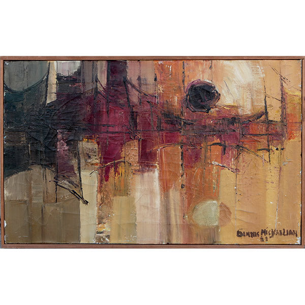 sunset-over-the-bridge-vintage-1961-abstract-painting-by-dennis-mickaelian