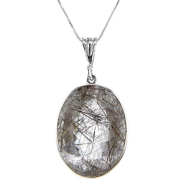 Large Oval Super 7 Gold Rutilated Quartz Pendant Necklace