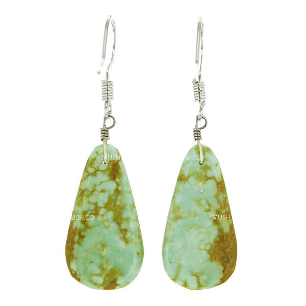 Small Teardrop Turquoise Slab Earrings
