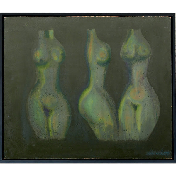 Three Women Vintage Abstract Painting by Nikolay Nikov